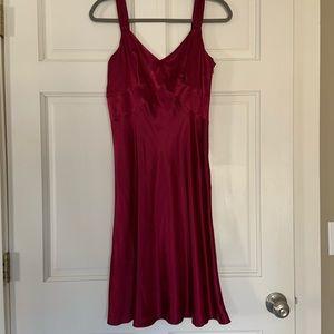 Satin burgundy/maroon dress; Ann Taylor Loft